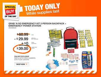 $30 off Ready America 78281 Grab 'n Go Emergency Kit w/ Backpack
