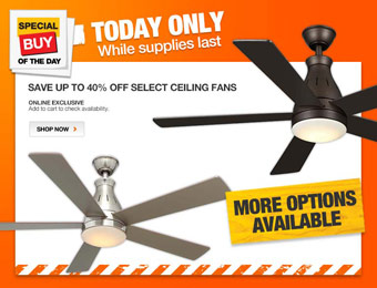 Up to 40% off Select Ceiling Fans, Hampton Bay & Vento
