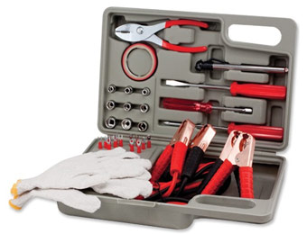 75% off 35 Pc Roadside Emergency Kit w/ Jumper Cables & Case