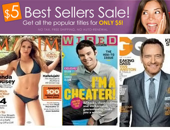 $5 Annual Magazine Subscriptions, All the Best Sellers, Maxim, GQ