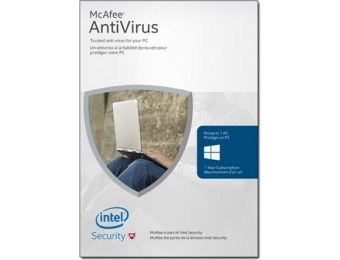 75% off McAfee Download - 2016 AntiVirus Basic 1 Device