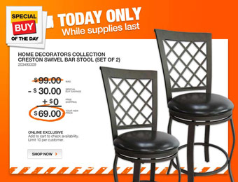 $30 off Home Decorators Creston Swivel Bar Stool (Set of 2)