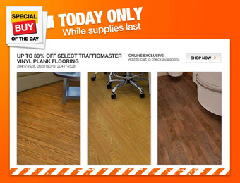 Up to 30% off Select TrafficMaster Vinyl Plank Flooring