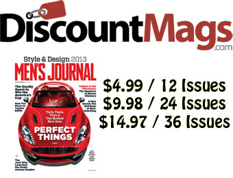 92% off Men's Journal Magazine Annual Subscription, $5/12 Issues
