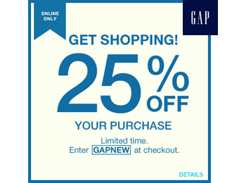 Extra 25% off Your Entire Purchase at Gap.com w/code: GAPNEW