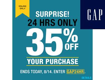 Extra 35% off Your Entire Purchase at Gap w/code: GAP24HR