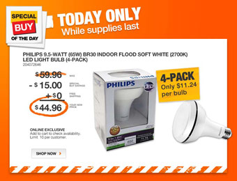 25% off Philips 9.5-Watt BR30 Indoor White LED Light (4-Pack)