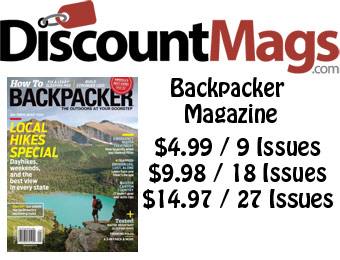 86% off Backpacker Magazine Annual Subscription, $5 / 9 Issues