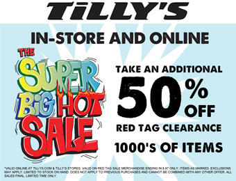 Extra 50% off Red Tag Clearance Items at Tilly's