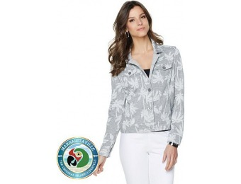 75% off Margaritaville Palm Print French Terry Jean Jacket