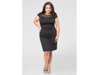 77% off Ashley Stewart Ruched Stud Front Bodycon Dress