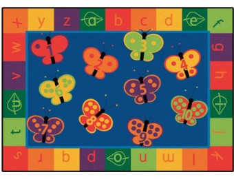 54% off Rectangle 123 ABC Butterfly Kids Rug