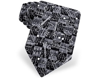 75% off And The Band Played On Necktie (Black Microfiber)