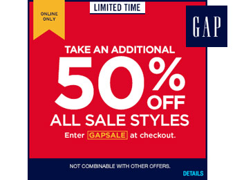 Extra 50% off All Sale Styles at Gap.com w/code: GAPSALE