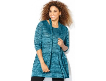 82% off Avenue Plus Size Spacedye Sharkbite Top with Scarf