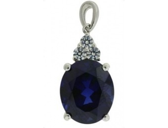 88% off Sterling Silver Created Sapphire Pendant