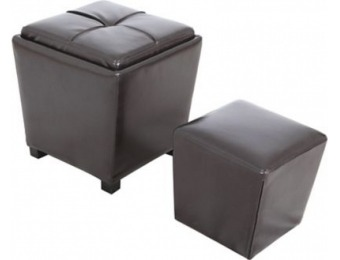 83% off Leather Storage Ottoman, Espresso