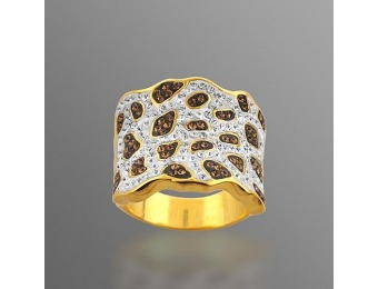 88% off Gold over Bronze Brown and White Crystal Ring