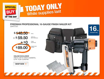 $60 off Freeman Professional 16-Gauge Finisher Nailer Kit