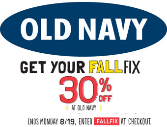 Extra 30% off Your Purchase at Old Navy w/code: FALLFIX
