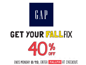 Extra 40% off Your Purchase at Gap.com w/code: FALLFIX