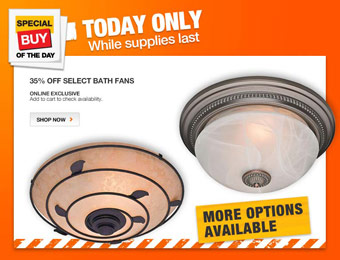 Extra 35% off Select Bathroom Fans and Lights