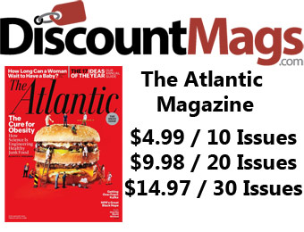 92% off The Atlantic Magazine Annual Subscription, $5 / 10 Issues