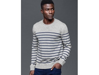 56% off Gap Cotton Stripe Crew Sweater - Gray stripe