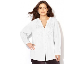 84% off Avenue Plus Size Pleated Button Tunic