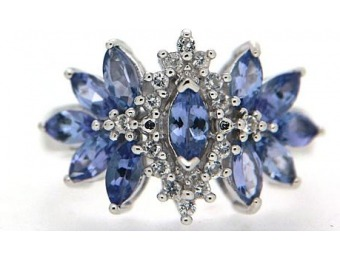 95% off 1-1/2 Cttw Sterling Silver Tanzanite and White Topaz Ring