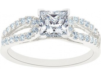 76% off 14K White Gold Princess Cut Certified Diamond Engagement Ring