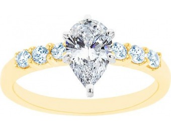 76% off 14K Two Tone Seven Stone Pear Shaped Certified Diamond Ring