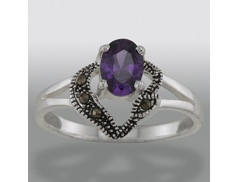 85% off Sterling Silver Marcasite and Amethyst Cubic Zirconia Ring