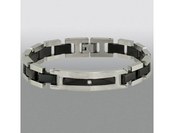 85% off Stainless Steel and Black Link Bracelet with Accent Stone