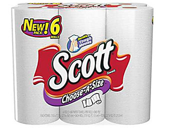 $3 off Scott Select-A-Size Paper Towels 1-Ply, 6 Rolls/Pack