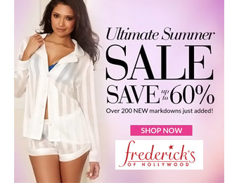 Extra 60% off at Ferderick's of Hollywood Summer Sale