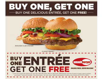 Buy One, Get One Free Entrée at Smashburger
