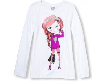 60% off Long Sleeve Glitter Heart Girl Graphic Tee