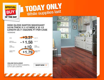 47% off Home Legend Mahogany Hardwood Flooring, $1.79/ sq. ft.