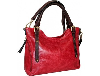68% off Nino Bossi #Awesome Satchel Red Leather Handbag