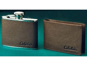 60% off Cabela's Leather Wallet and Flask Combo