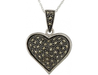 92% off Marcasite Sterling Silver Heart Pendant