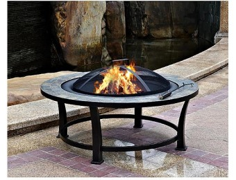 "90% off Garden Oasis 40"" Round Slate Top Fire Pit Table"