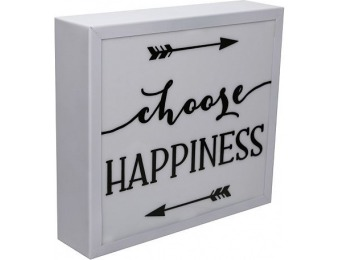 60% off Choose Happiness LED Metal Table Decor, White