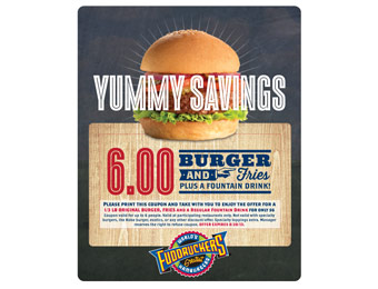 Fuddruckers Burger, Fries, & Regular Drink for $6 Coupon