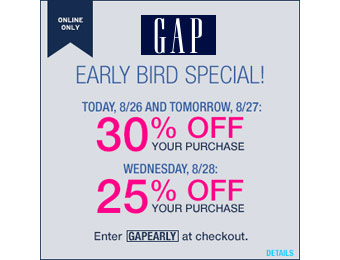 Extra 30% off Your Purchase at Gap.com w/code: GAPEARLY