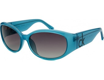 85% off Calvin Klein Women's Rectangle Blue Sunglasses