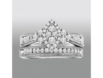 92% off 5/8 Cttw. Round Cut Diamonds Bridal Set, Sterling Silver