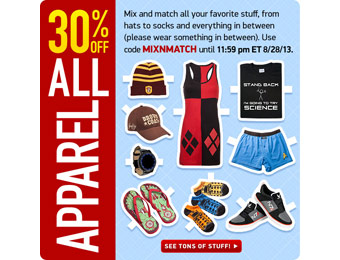 Extra 30% off All Apparel at ThinkGeek w/code: MIXNMATCH