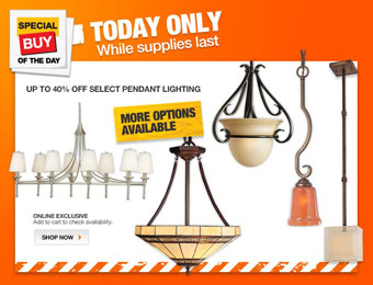 Up to 40% off Select Pendant Lighting at Home Depot